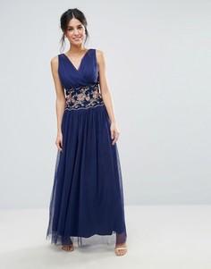 Платье макси с вышивкой Little Mistress - Темно-синий