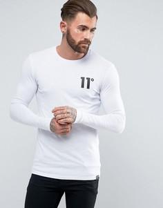 Белый лонгслив с логотипом 11 Degrees - Белый