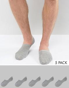5 пар серых носков-невидимок ASOS - СКИДКА - Серый
