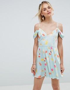 Приталенное летнее платье с принтом мороженого ASOS - Мульти