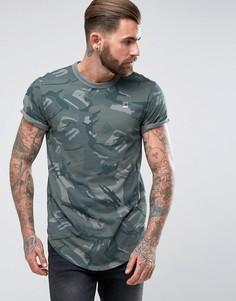 Свободная футболка с камуфляжной отделкой G-Star - Зеленый