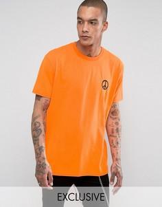 Неоновая оversize-футболка с вышитой надписью Reclaimed Vintage Inspired Rave - Оранжевый