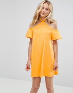 Сарафан с открытыми плечами и халтером ASOS - Оранжевый