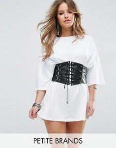 Свободное платье-футболка с корсетной отделкой Glamorous Petite - Белый