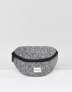 Серая меланжевая сумка-кошелек на пояс Spiral - Серый