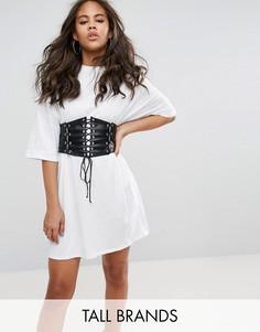Свободное платье-футболка с корсетной отделкой Glamorous Tall - Белый
