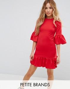 Платье мини с с рюшами по краю Glamorous Petite - Красный