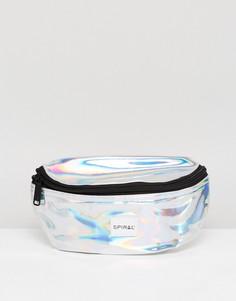 Серебристая сумка-кошелек на пояс Spiral - Серебряный