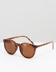 Круглые солнцезащитные очки со съемными стеклами 7X - Коричневый