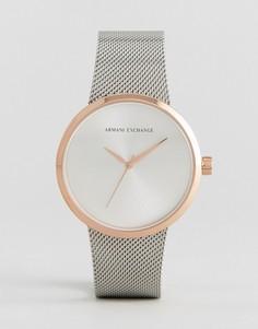 Часы из разных металлов с сетчатым ремешком Armani Exchange - Серебряный