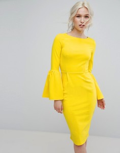 Платье-футляр с оборками на рукавах Club L - Желтый