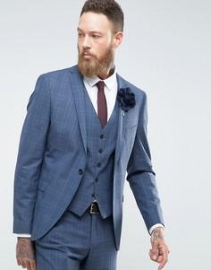 Синий приталенный пиджак в клетку Selected Homme Wedding - Синий
