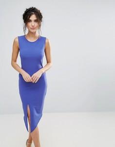 Платье-футляр с разрезом и поясом Club L - Синий
