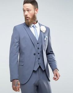 Эластичный облегающий пиджак Selected Homme - Синий