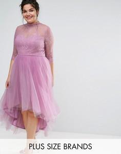 Платье миди с рукавами 3/4, кружевным топом и юбкой из тюля Chi Chi London Plus - Розовый