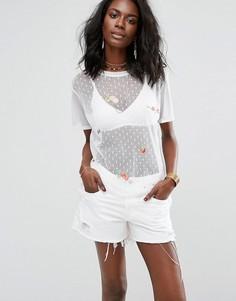 Сетчатая футболка с вышивкой Boohoo - Белый