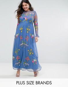 Чайное платье с оборками на манжетах и вышивкой Frock And Frill Plus - Синий