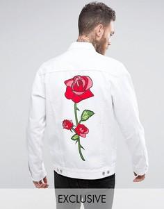 Свободная джинсовая куртка с принтом на спине Reclaimed Vintage Revived - Белый