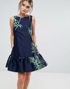 Жаккардовое платье-трапеция Closet London - Темно-синий