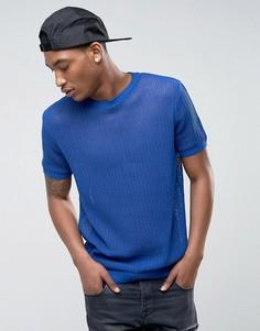 Синяя сетчатая футболка ASOS - Синий