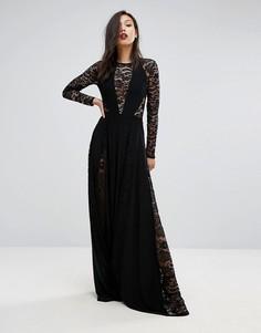 Платье макси с кружевными вставками Club L - Черный