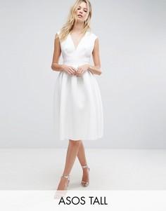 Платье миди для выпускного с глубоким вырезом ASOS TALL - Белый