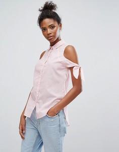 Рубашка в полоску с завязкой на рукавах Only - Розовый