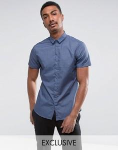 Рубашка скинни из шамбре с короткими рукавами Noak - Синий