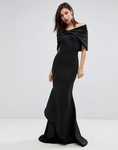 Платье с широким вырезом, отделкой в виде банта и годе Club L Red Carpet - Черный