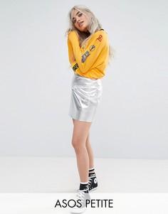 Мини-юбка с эффектом металлик ASOS PETITE - Серебряный