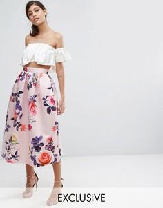 Атласная юбка миди с принтом Closet London - Мульти