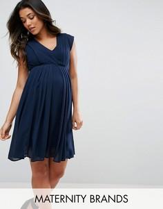 Платье с V-образным вырезом Mamalicious - Темно-синий Mama.Licious