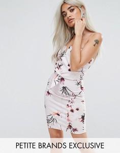 Облегающее платье с цветочным узором Missguided Petite - Бежевый