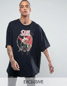 Черная свободная футболка с принтом Ozzy Osbourne Reclaimed Vintage Inspired - Черный