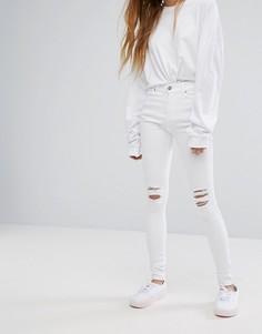 Рваные супероблегающие джинсы с классической талией Dr Denim Lexy - Белый