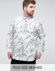 Строгая приталенная рубашка с цветочным принтом Noose & Monkey PLUS - Белый