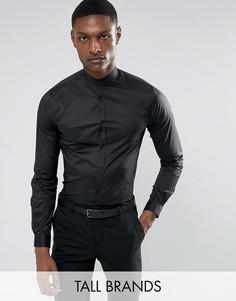 Рубашка скинни с воротом на пуговице Noak TALL - Черный