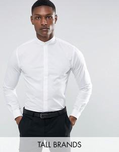Рубашка скинни с воротом на пуговице Noose & Monkey TALL - Белый