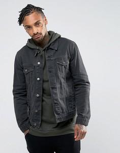 Темно-серая выбеленная джинсовая куртка ASOS - Серый