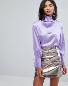 Атласная блузка с драпировкой Sister Jane - Фиолетовый