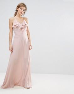 Платье макси с оборкой New Look - Бежевый