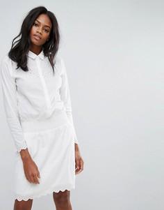 Платье с длинными рукавами и вышивкой Y.A.S - Белый