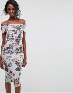 Платье миди с открытыми плечами и цветочным принтом Boohoo - Мульти