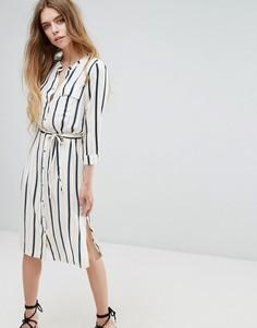 Платье-рубашка в полоску без воротника Vila - Мульти