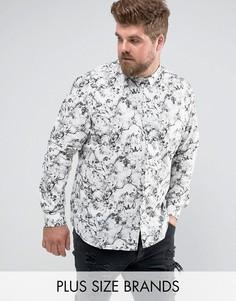 Рубашка скинни с принтом Noose & Monkey PLUS - Белый