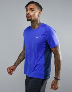 Синяя футболка Nike Running Breathe Miler 833591-452 - Синий