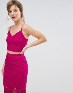 Кружевной кроп-топ New Look Co-Ord - Розовый