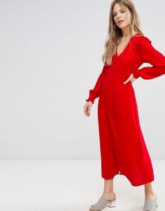 Платье макси на пуговицах New Look - Красный
