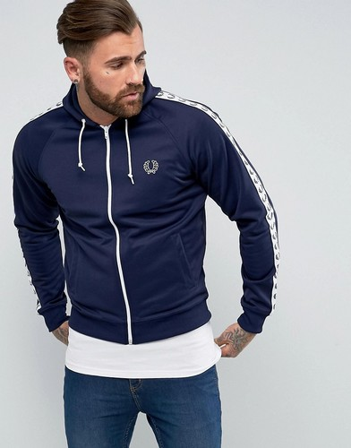 Темно-синяя узкая спортивная куртка с лентой Fred Perry Sports Authentic - Темно-синий