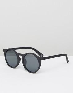 Черные круглые солнцезащитные oversize-очки с плоскими стеклами ASOS - Черный